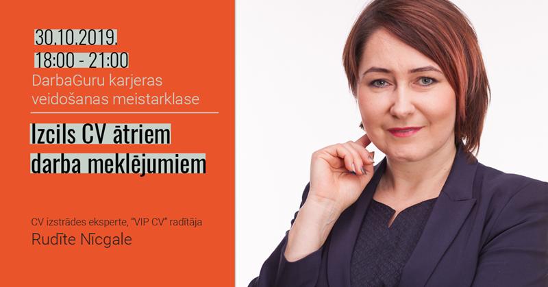 30.10. 18:00 - 21:00 Karjeras veidošanas meistarklase: Izcils CV ātriem darba meklējumiem